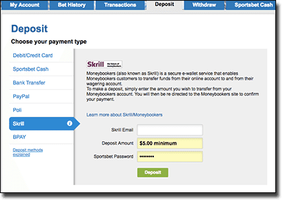 How to deposit money at Sportsbet using Skrill