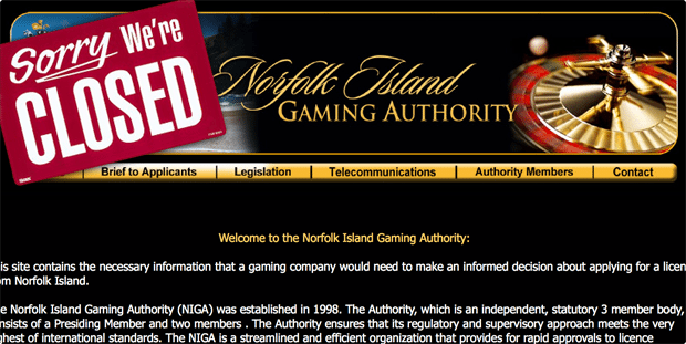 Norfolk Island Gaming Authority closes down