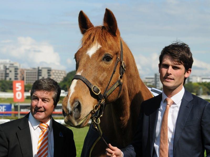Melbourne Cup winner Saintly with Darren Beadman and James Cummings