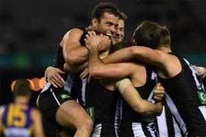 Magpies celebrate comeback win over West Coast Eagles