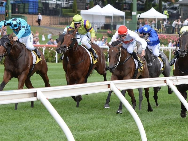 Bel Sonic (left) wins at Moonee Valley.