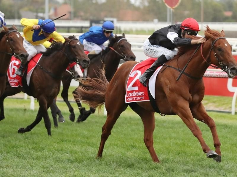 Written By wins the Blue Diamond Stakes at Caulfield