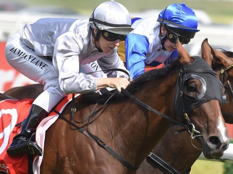 Jockey Damian Lane rides Bedford (L) to victory in Race 7,