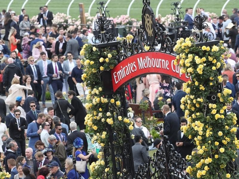Racegoers during the 2017 Melbourne Cup Day