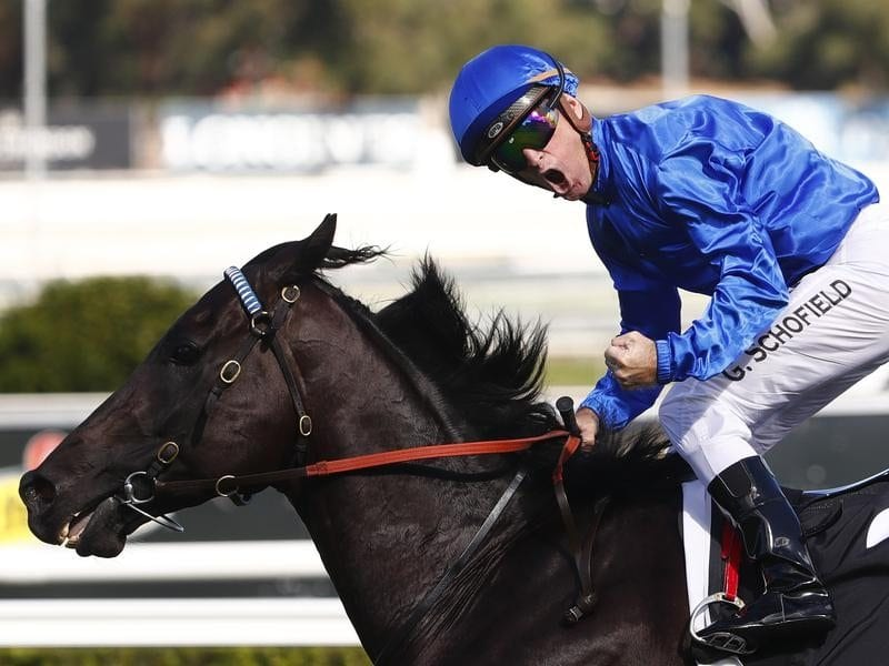 Glyn Schofield ridies Kementari to win the Randwick Guineas
