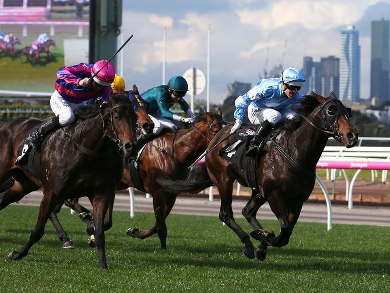 Noel Callow rides The August to win race 1 at Flemington