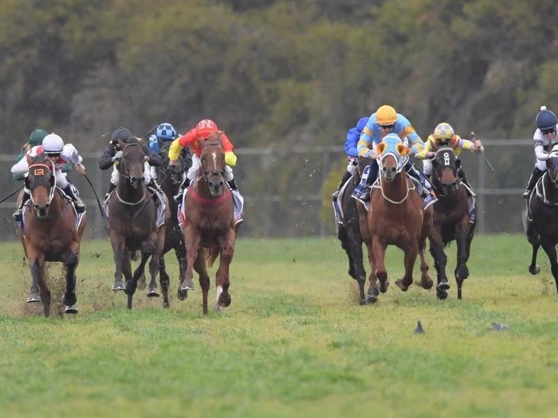 Graff (left) wins the San Domenico Stakes