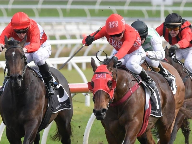 Redzel (right) wins the Concorde Stakes.