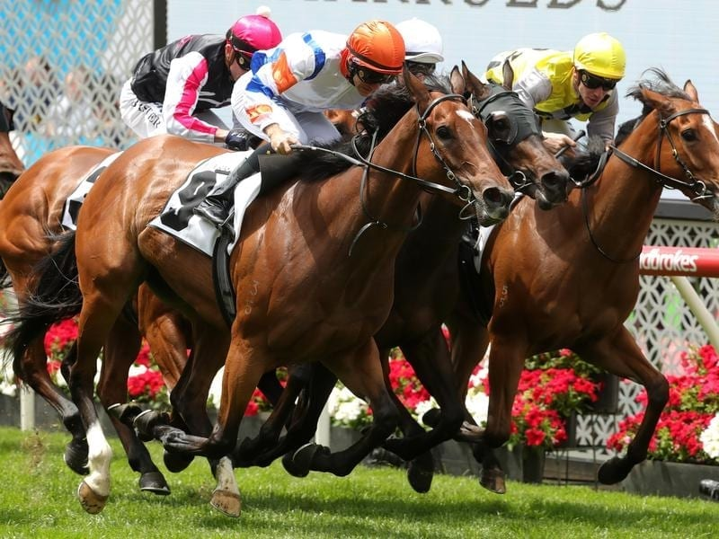 Beauty (left) wins at Moonee Valley.