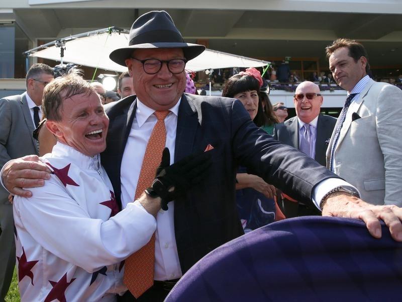 Jockey Barend Vorster with trainer Tony McEvoy