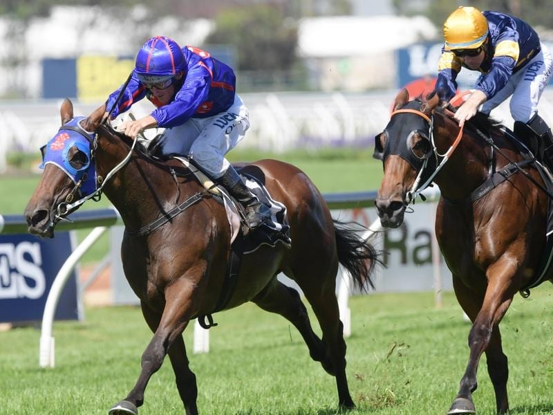 Jockey Damien Oliver rides Krone to victory