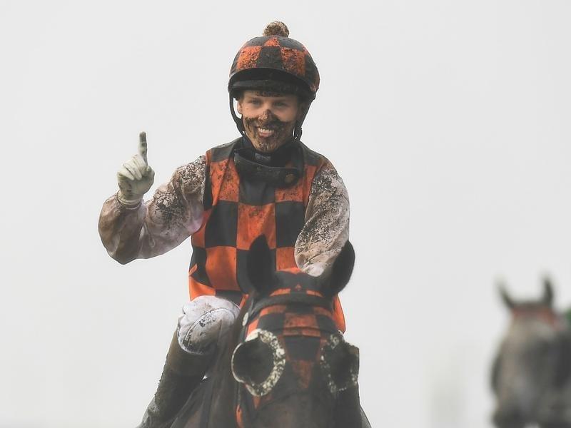 Jockey Corey Bayliss gestures after riding Madam Shazam to victory.