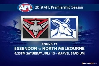 Bombers vs Kangaroos AFL Round 17 odds