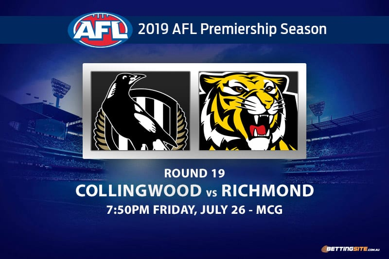 Magpies vs Tigers AFL Round 19 odds