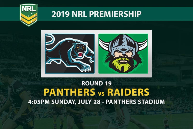 Panthers vs Raiders NRL Round 19 odds