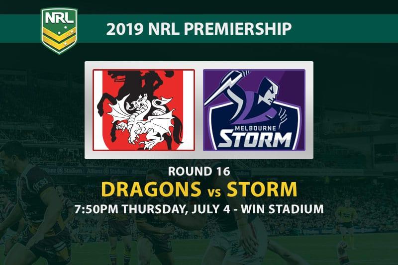 2019 NRL Dragons vs Storm betting tips