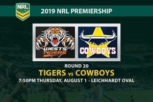 Tigers vs Cowboys NRL Round 20 betting