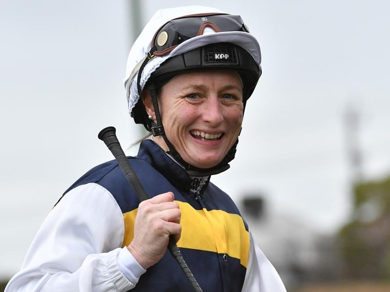 Linda Meech after riding a treble at The Valley.