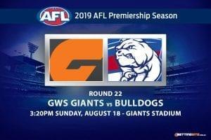 Giants vs Bulldogs AFL Round 22 betting tips