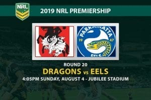 Dragons vs Eels NRL Round 20 betting tips