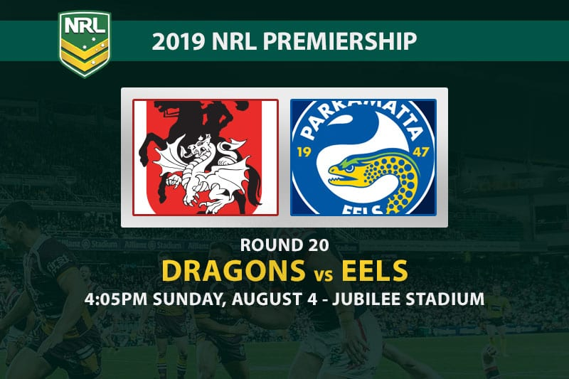 Dragons vs Eels NRL Round 20 betting tips