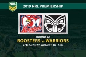 Roosters vs Warriors NRL Round 22 betting tips