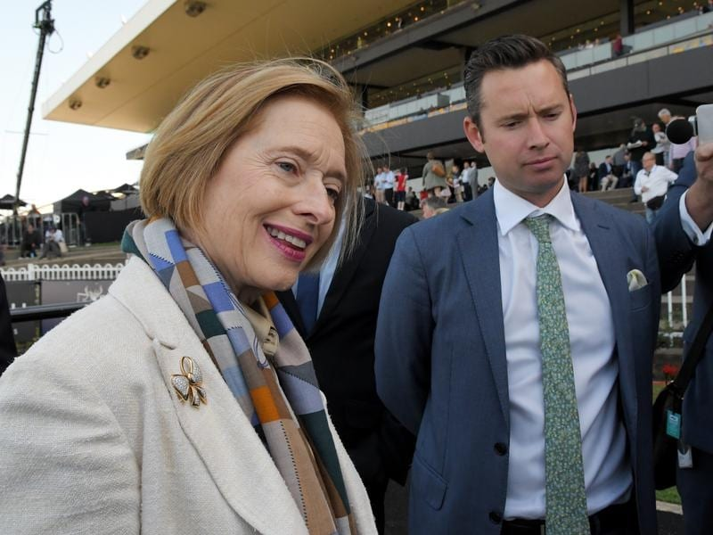 Co-trainers Gai Waterhouse and Adrian Bott after Just Thinkin's win.