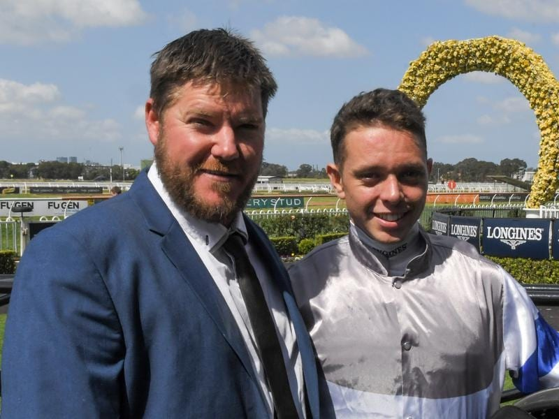 Colt Prosser and Andrew Adkins after their win at Rosehill.