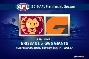 Lions vs Giants AFL finals odds