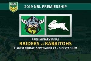 Raiders vs Rabbitohs preliminary final odds