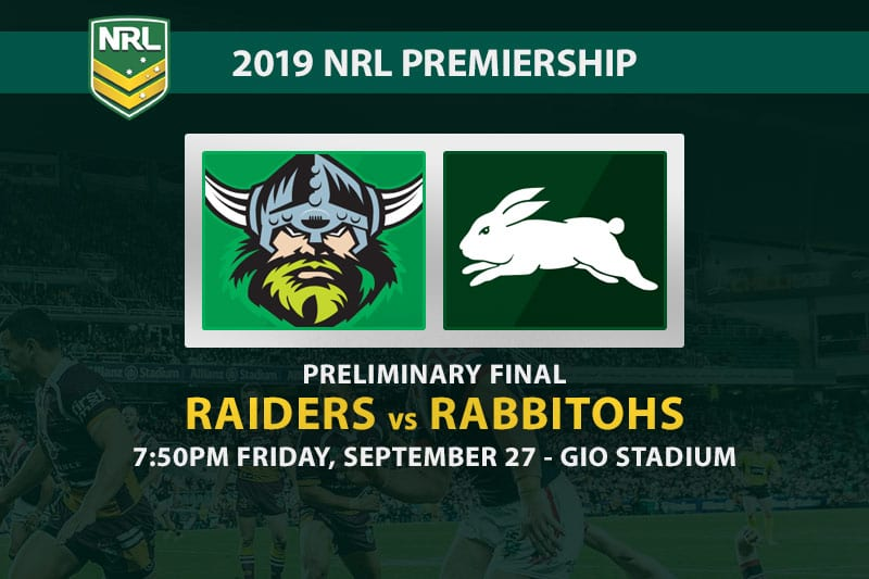 Raiders vs Rabbitohs preliminary final odds