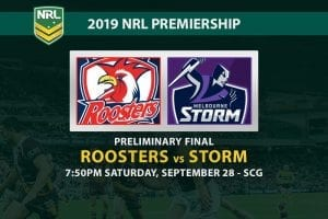 Roosters vs Storm prelim final odds