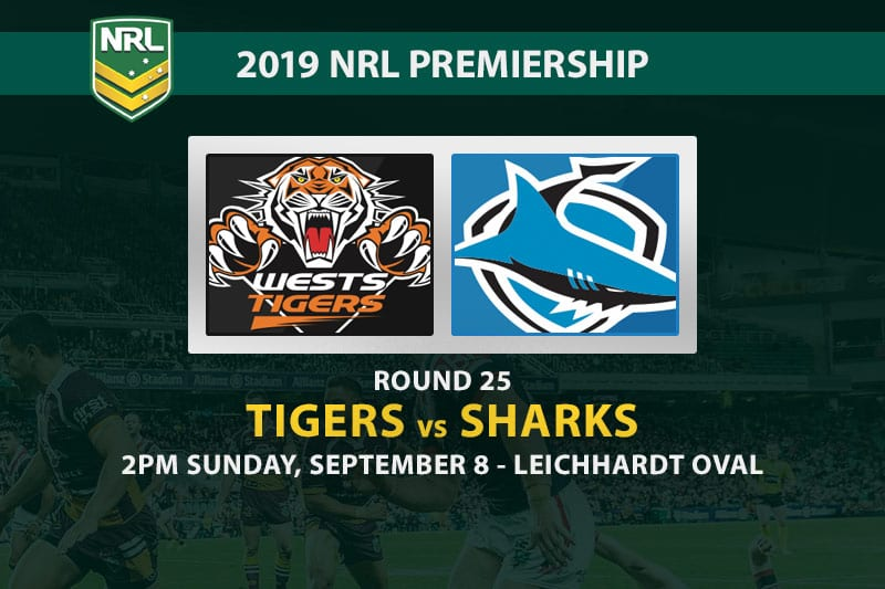 Tigers vs Sharks NRL Round 25 betting tips
