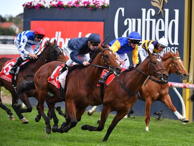 Cape Of Good Hope (right) wins the Caulfield Stakes.