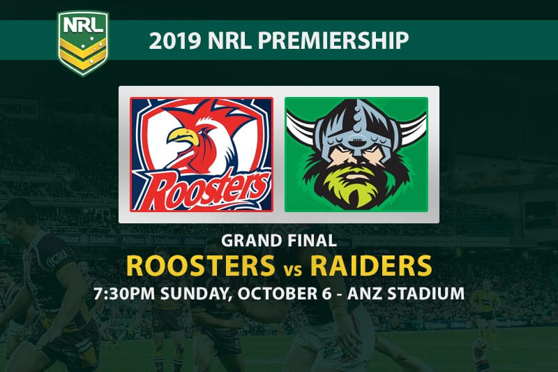 Roosters vs Raiders NRL Grand Final odds