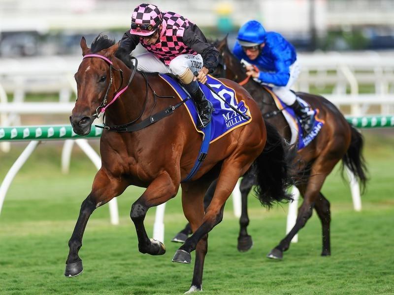 Jockey Robbie Fradd rides Deep Image to victory