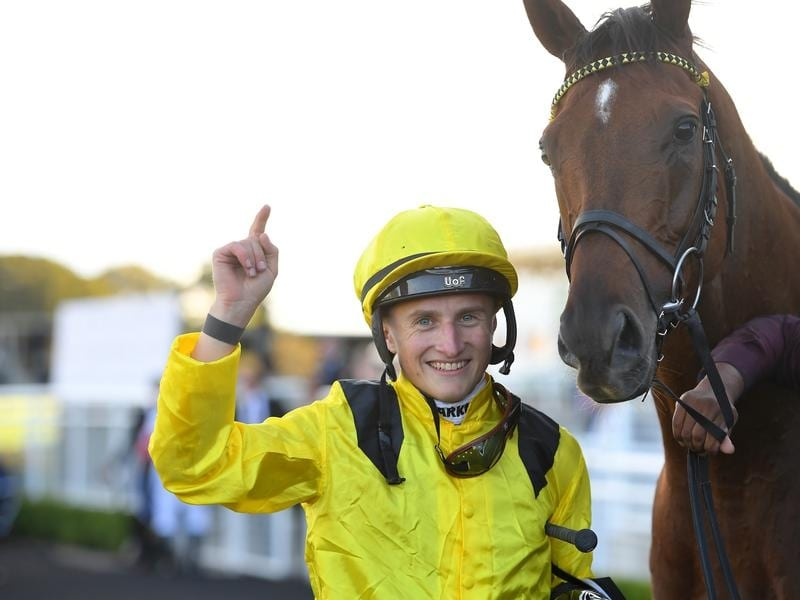 Tom Mrquand after winning the Queen Elizabeth Stakes on Addeybb.