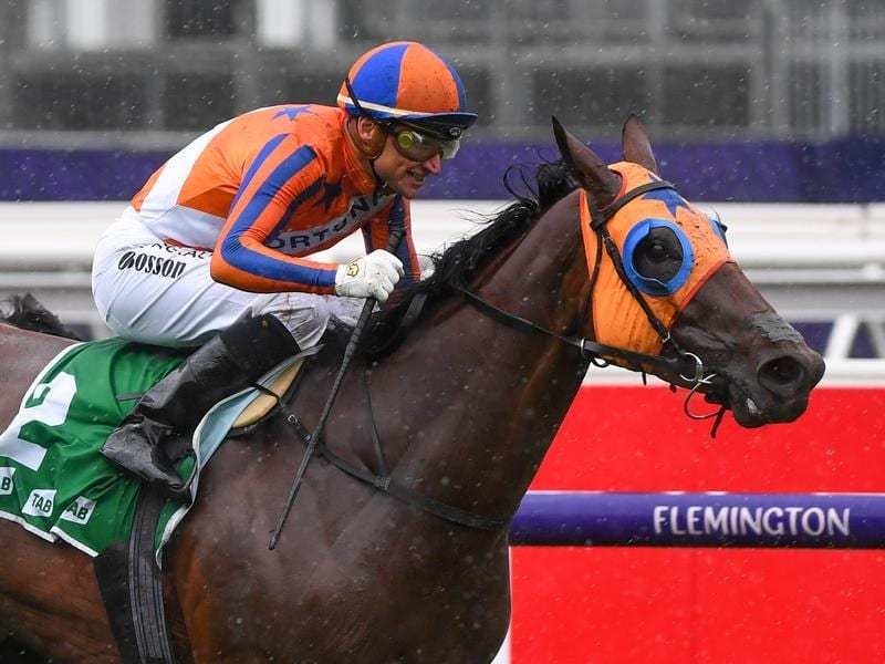 Melody Belle wins the Empire Rose Stakes at Flemington.