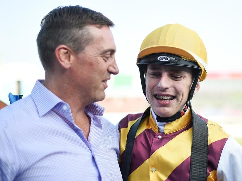 Trainer Tony Gollan and his apprentice jockey Baylee Nothdurft